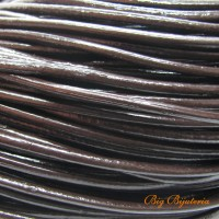 Fio de couro natural café 3 mm 1 metro
