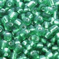 Miçanga Verde c/ Miolo Prata 6/0 500 g